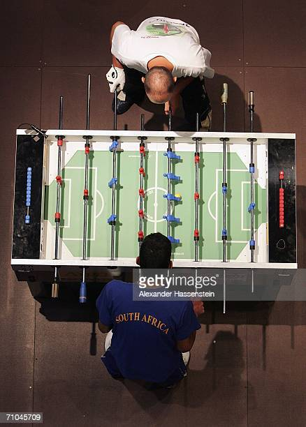 Players compete during the ITSF Table Soccer World Cup Germany 2006 at the Fischauktionshalle on May 252006 in Hamburg Germany