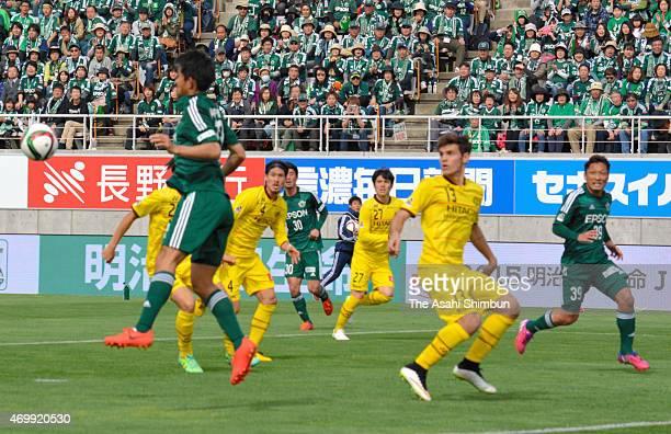 Players compete during the J.League match between Matsumoto Yamaga and Kashiwa Reysol at Alwin Stadium on April 12, 2015 in Matsumoto, Nagano, Japan.