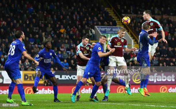 Players compete during the Premier League match between Burnley and Leicester City at Turf Moor on January 31 2017 in Burnley England