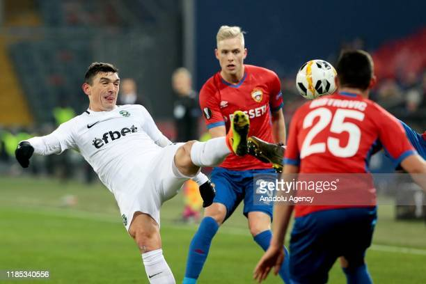 Players compete during UEFA Europa League Group H match between CSKA Moscow and Ludogorets Razgrad at CSKA Arena in Moscow, Russia on November 28,...