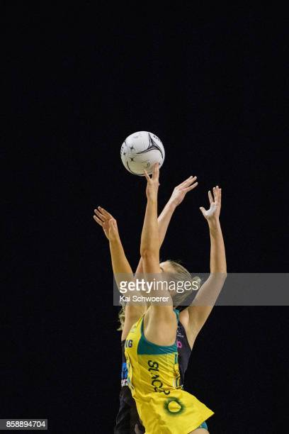 Players compete for a ball during the 2017 Constellation Cup match between Australia Diamonds and the New Zealand Silver Ferns at Horncastle Arena on...