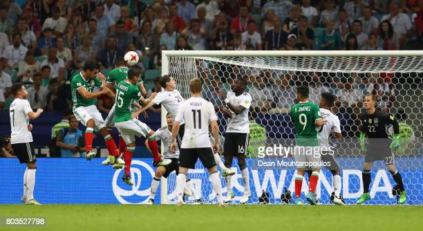 Players compete for the ball during the FIFA Confederations Cup Russia 2017 SemiFinal between Germany and Mexico at Fisht Olympic Stadium on June 29...