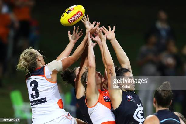 Players compete for the ball during the round 20 AFLW match between the Greater Western Sydney Giants and the Carlton Blues at Drummoyne Oval on...