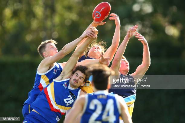 Players compete for the ball during the round seven TAC Cup match between the Eastern Ranges and the Bendigo Pioneers at Box Hill City Oval on May 13...