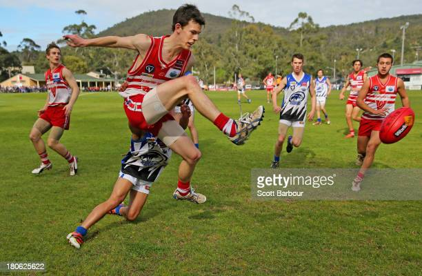 Players compete for the ball during the Yarra Valley Mountain District Football League Under 18 Grand Final between Olinda Ferny Creek and Warburton...