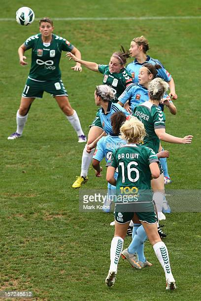 Players compete for the ball from a corner during the round seven W-League match between Sydney FC and Canberra United at Leichhardt Oval on December...