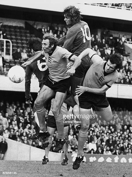 Players compete for the ball in the Wolves goalmouth during a match between Chelsea and Wolves at Stamford Bridge London 28th September 1974 In the...