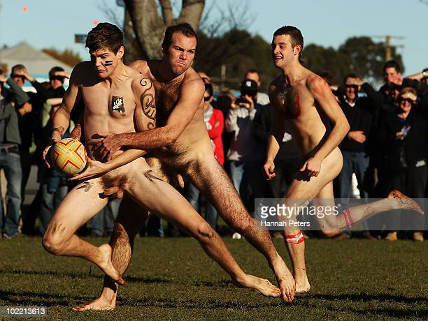 Players compete in a nude rugby game at Logan Park on June 19 2010 in Dunedin New Zealand A naked rugby match is a traditional prelude to a New...