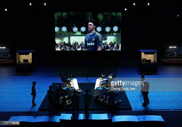 Players compete in the eSports FIFA 13 semi final against at Samsan World Gymnasium during day four of the 4th Asian Indoor Martial Arts Games on...