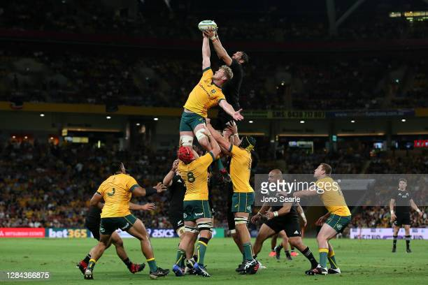 Players compete in the lineout during the 2020 Tri-Nations match between the Australian Wallabies and the New Zealand All Blacks at Suncorp Stadium...