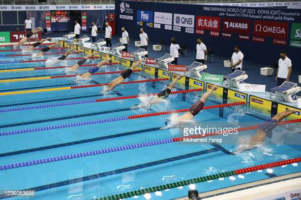 Players compete in the Men's 100m Individual Freestyle during day Two of the FINA Swimming World Cup Doha at Hamad Aquatic Centre on October 22, 2021...