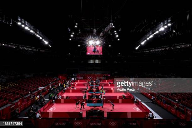 Players compete in their Men's and Women's Team Round of 16 table tennis matches on day nine of the Tokyo 2020 Olympic Games at Tokyo Metropolitan...