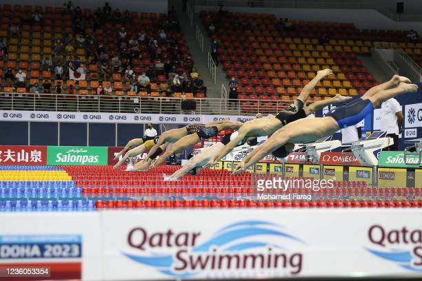 Players competes in the Men's 200m Individual Butterfly during day Two of the FINA Swimming World Cup Doha at Hamad Aquatic Centre on October 22,...