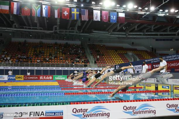 Players competes in the Men's 50m Individual Breaststroke during day Two of the FINA Swimming World Cup Doha at Hamad Aquatic Centre on October 22,...