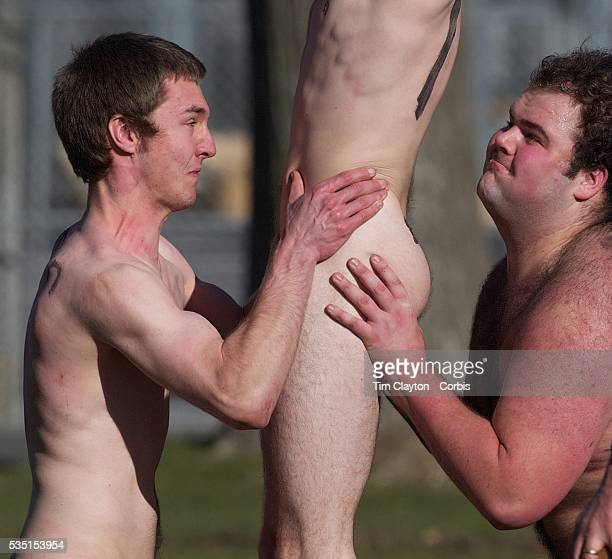 Players contest a line out during the 'Nude Blacks' versus a Fijian invitation side played at Logan Park Dunedin as an unofficial curtain raiser...