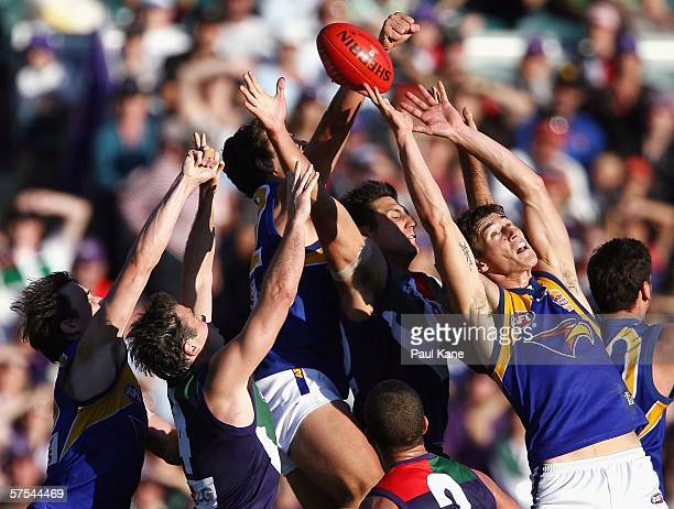 Players contest a mark during the round six AFL match between the Fremantle Dockers and the West Coast Eagles at Subiaco Oval May 6, 2006 in Perth,...