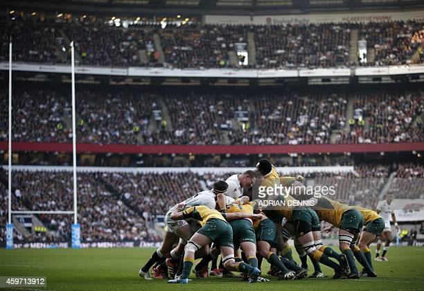 Players contest a maul during the Autumn International rugby union Test match between England and Australia at Twickenham Stadium southwest of London...