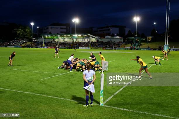 Players contest a scrum during the Women's Rugby World Cup 2017 pool C rugby match between France and Australia at The UCD Bowl in Dublin on August...