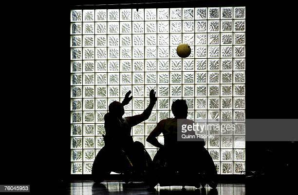Players contest the ball during the round two National Wheelchair Rugby League match between the New Zealand Development and the South Australia...
