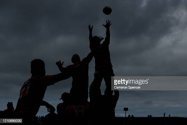 Players contest the ball in a lineout during the round six Super Rugby match between the Sunwolves and the Brumbies at WIN Stadium on March 06, 2020...