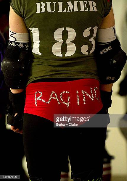 A player's costume at the Rollergirls Roller Derby event in Oldham April 14 2012 in Oldham England The contact sport of Roller Derby involves two...