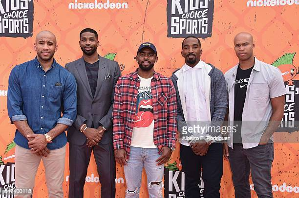 NBA players Dahntay Jones Tristan Thompson Kyrie Irving J R Smith and Richard Jefferson of the Cleveland Cavaliers attend the Nickelodeon Kids'...