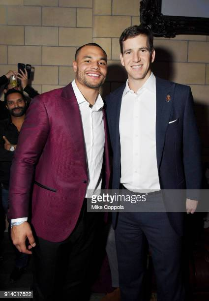 NFL players Dak Prescott and Eli Manning attend the 2018 DIRECTV NOW Super Saturday Night Concert at NOMADIC LIVE at The Armory on February 3 2018 in...