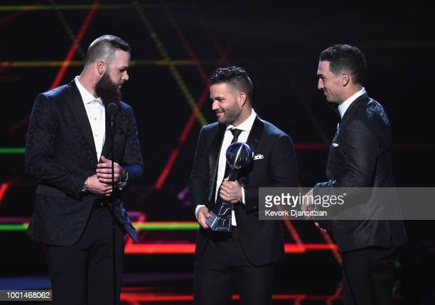 MLB players Dallas Keuchel Jose Altuve and Alex Bregman of the Houston Astros accept the award for Best Team onstage at The 2018 ESPYS at Microsoft...