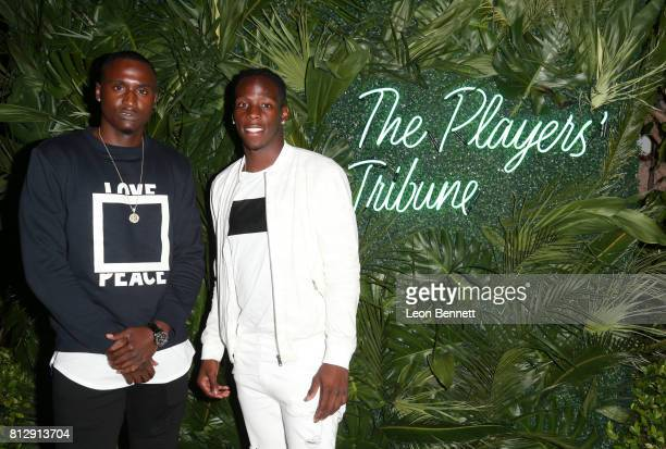 NFL players D'Angelo Blake and John Ross attend The Players' Tribune Hosts Players' Night Out 2017 at The Beverly Hills Hotel on July 11 2017 in...
