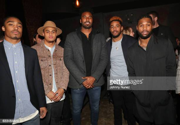 NFL players Daryl Robinson Dexter McDougle EJ Manuel Juston Burris and Omar Bolden attend Reinge Clothing presents Cocktails and Clothing at Avenue...