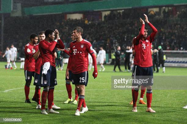 Players David Alaba Meritan Shabani Thomas Mueller Sandro Wagner Javi Martinez and Niklas Suele of Bayern Muenchen clebrtae vicotry after the DFB Cup...