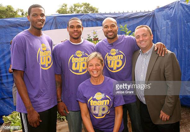 NBA players Devin Ebanks Shannon Brown Derek Fisher with Teaching Garden founder Kelly Meyer and American Heart association National Director Alex...