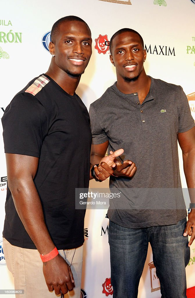 NFL players Devin McCourty and Jason McCourty attend The Maxim Party With 'Gears of War: Judgment' For XBOX 360, FOX Sports & Starter Presented by Patron Tequila at Second Line Warehouse on February 1, 2013 in New Orleans, Louisiana.