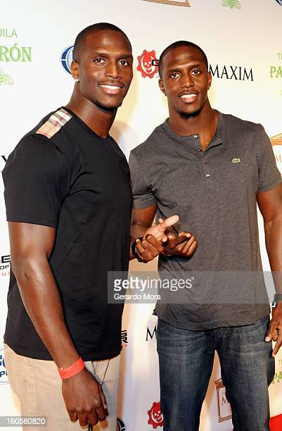 NFL players Devin McCourty and Jason McCourty attend The Maxim Party With Gears of War Judgment For XBOX 360 FOX Sports Starter Presented by Patron...