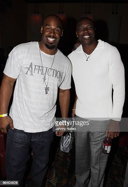 NFL players Donovan McNabb and Terrell Owens attend the Moves Magazine Annual Super Bowl Gala on February 3 2010 in Hallandale Florida