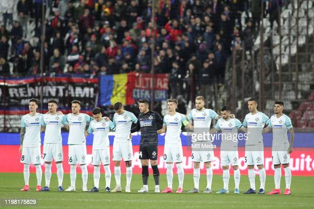 FCSB players during a moment of silence before the Liga I match between CFR Cluj and FCSB at DrConstantinRadulescuStadium on February 2 2020 in...