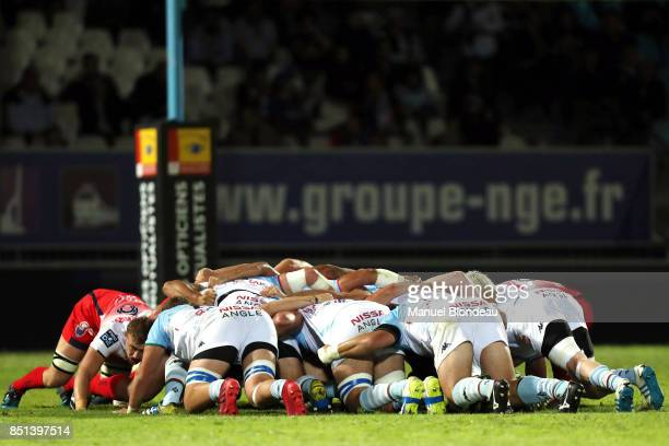 Players during a scrum during the French Pro D2 match between Aviron Bayonnais and Grenoble on September 21 2017 in Bayonne France