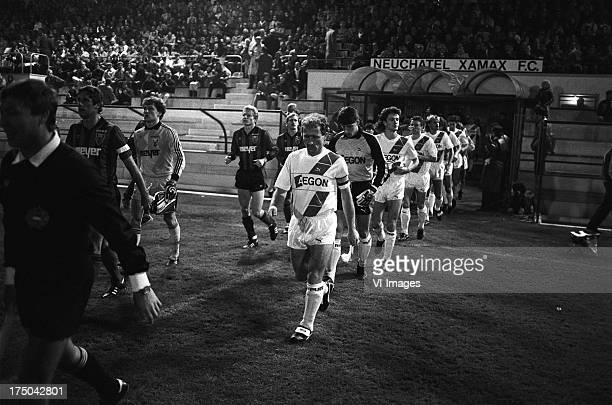 Players during the Europa Cup 3 match between Xamax Neuchatel and FC Groningen on november 5 1986 in Neuchatel Switzerland