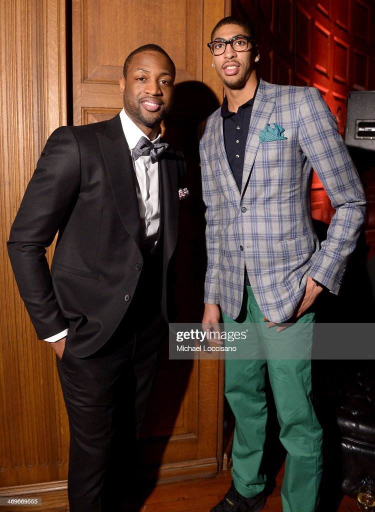 Players Dwyane Wade (L) and Anthony Davis attend GQ & LeBron James NBA All Star Party Sponsored By Samsung Galaxy And Beats at Ogden Museum's Patrick F. Taylor Library on February 15, 2014 in New Orleans, Louisiana.