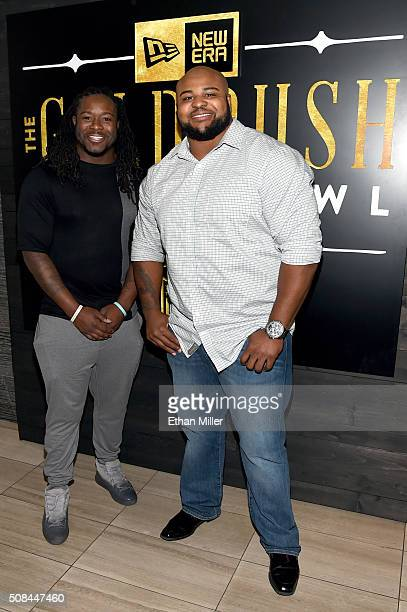 NFL players Eddie Lacy and Brandon Williams attend the New Era Style Lounge at The Battery on February 4 2016 in San Francisco California