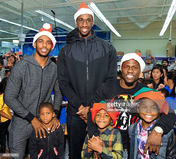 Players Ekpe Udoh, Chris Paul, actor Kevin Hart, Chris's son Christopher Emmanuel Paul II and Kevin's children Heaven Hart and Hendrix Hart attend...