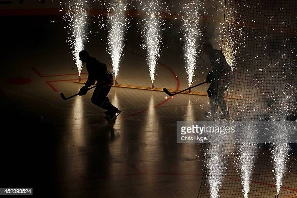 Players enter at the start of the International Ice Hockey Series match between the USA and Canada at Brisbane Entertainment Centre on July 19 2014...