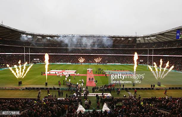 Players enter into the pitch prior to the Old Mutual Wealth Series match between England and South Africa at Twickenham Stadium on November 12 2016...