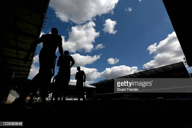 Players enter the pitch for the Second Bundesliga match between DSC Arminia Bielefeld and VfL Osnabrück at Schueco Arena on May 17, 2020 in...