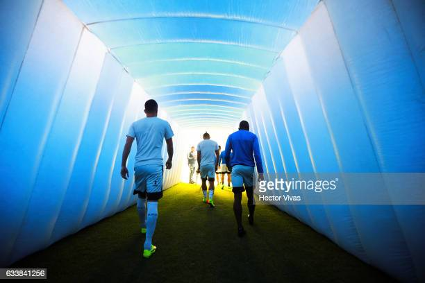 Players enter to the field prior the 5th round match between Cruz Azul and Queretaro as part of the Torneo Clausura 2017 Liga MX at Azul Stadium on...
