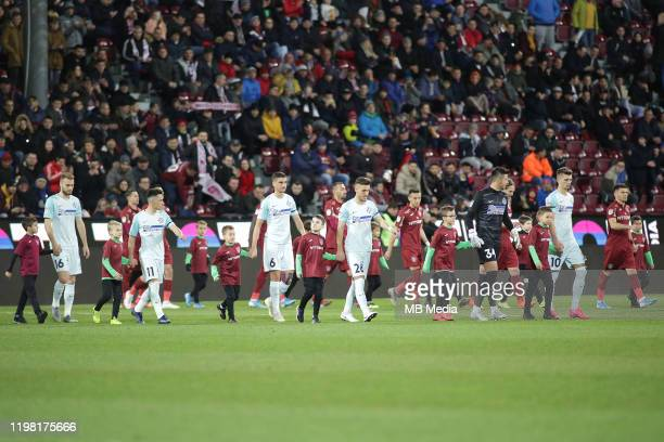 Players entrance before the Liga I match between CFR Cluj and FCSB at DrConstantinRadulescuStadium on February 2 2020 in ClujNapoca Romania