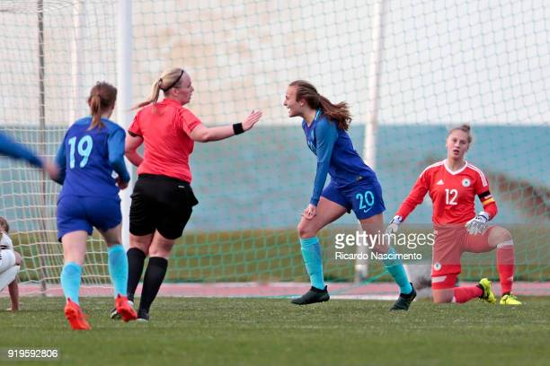 Players Evelien Mensies and Lobke Loonen in 1st Goal celebration for Netherlands scored by Lobke Loonen during UEFA Development Tournament match...