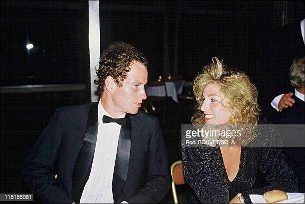 Players' evening at Roland Garros in Paris France on May 04 1985 John Mc Enroe and wife Tatum O'Neal