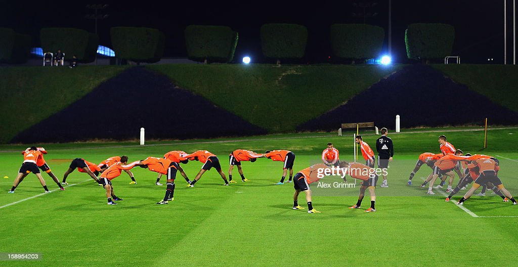 Players exercise during a Bayern Muenchen training session at the ASPIRE Academy for Sports Excellence on January 4, 2013 in Doha, Qatar.