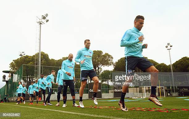 Players exercise during a Hertha BSC Berlin training session on day 6 of the Bundesliga Belek training camps at Gloria Sports Center on January 10...